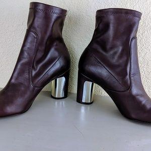 Zara Shoes - ZARA NWOT Sock Boot Maroon Round Block Heel 38